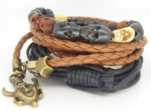 Deans Supernatural bracelet gift set, Amulet on leather, Skull and Elephant hair bracelet , prop replica